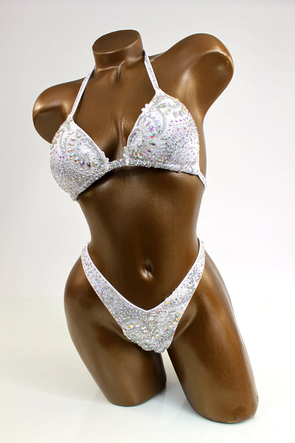 White AB Glittery Figure Competition Suit