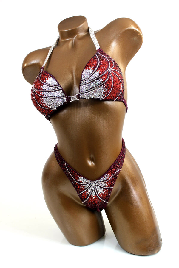 Deep Burgundy Crystal Lines Figure Competition Suit