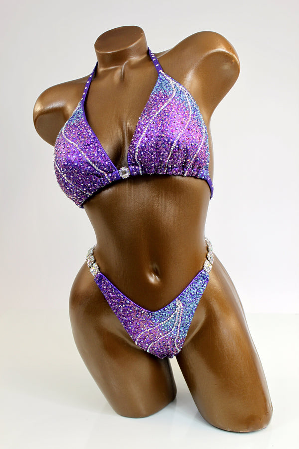 Purple AB Lines Figure Competition Suit