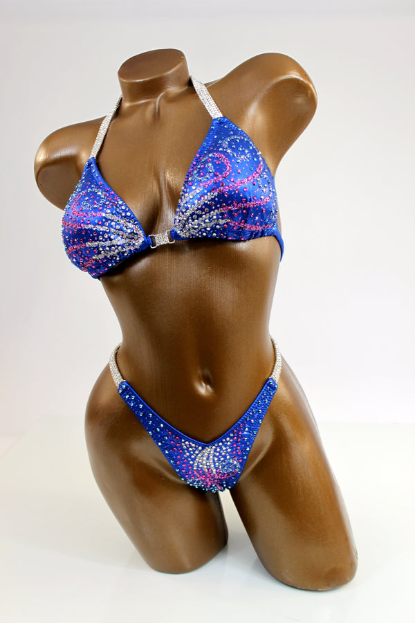 Gradient Ombre Swirls Figure Competition Suit