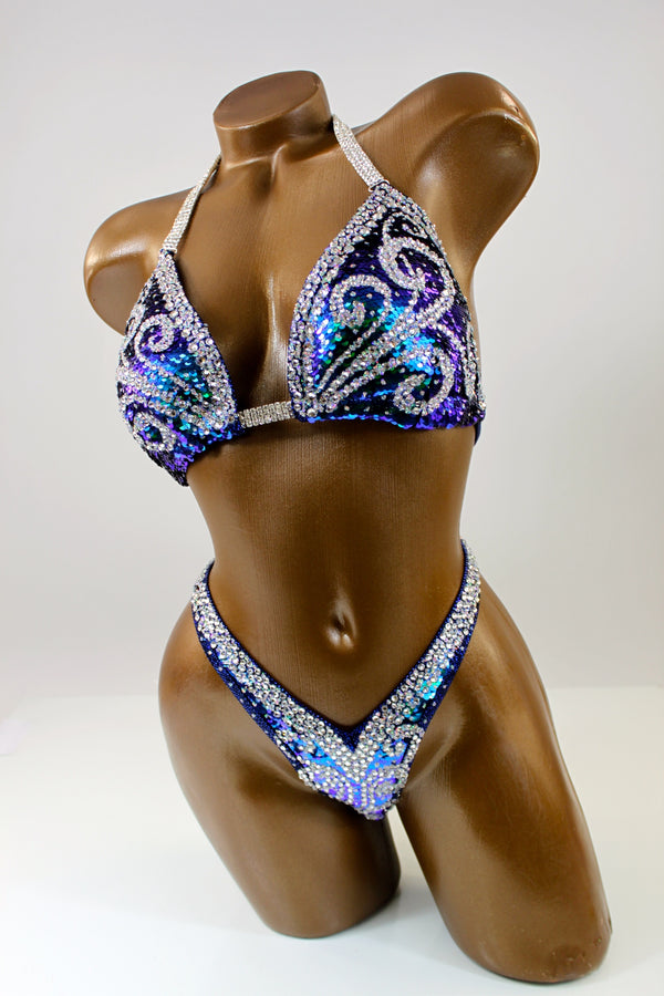 Dark Teal Sequin Figure Competition Suit