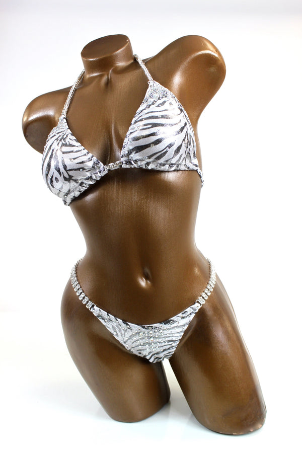 Silver Animal Metallic Bikini Suit