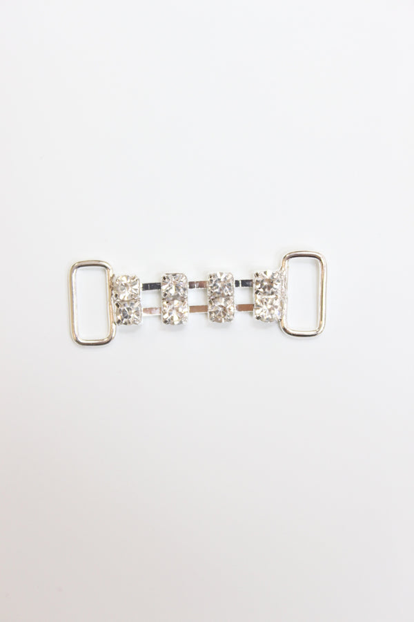 Double Rhinestone Chain Connector, Crystal Clear, 1 3/4""