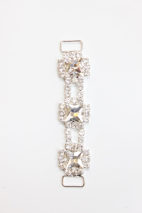 "Square Rhinestone Chain Connector, Crystal Clear, 3 3/4"" length"