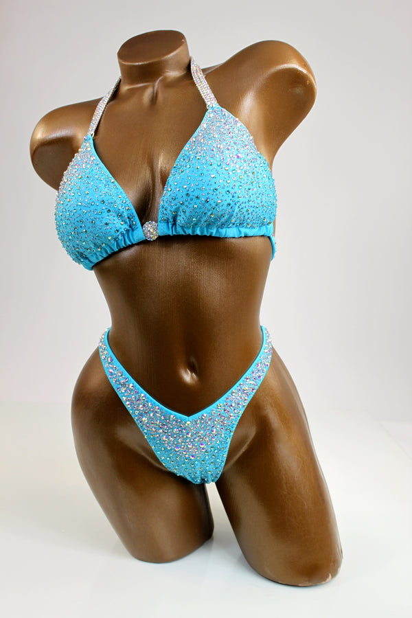 Baby Blue Gradient Crystals Figure Competition Suit