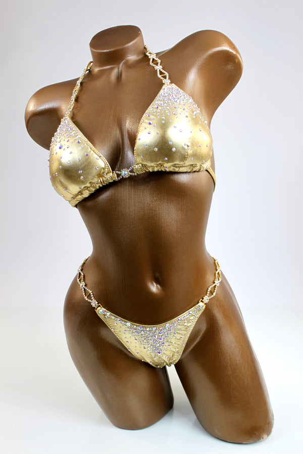 Gold Metallic Bikini Suit