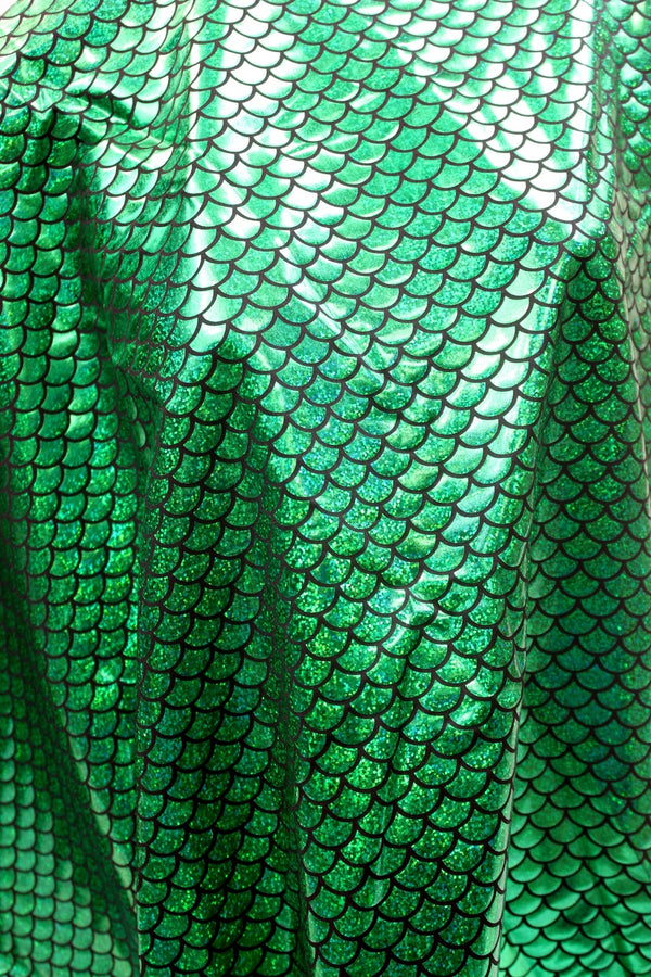 Green Hologram Fishscale Spandex