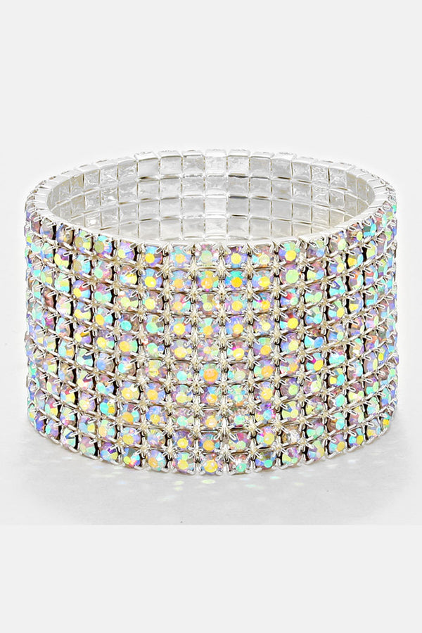 10-Row Rhinestone Stretch Bracelet