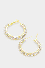 "Final Sale 2-Row Crystal Clear Rhinestone Hoops 2.5"" - Gold color"