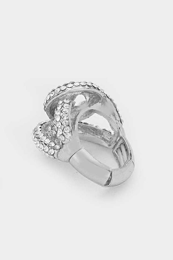 Twisted Crystal Clear Stretch Ring