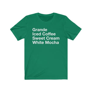 Iced Coffee with Sweet Cream and White Mocha Unisex Short Sleeve Tee