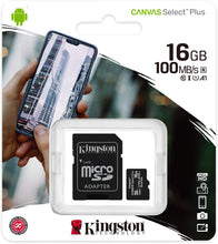 Carica l'immagine nel visualizzatore di Gallery, Kingston Memory Card Micro SD 16GB C10 SDCS2/16GB Canvas Select Plus