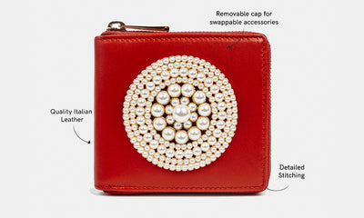 Red Yountville Wallet with Berryessa Pearl Brooch Acccesory