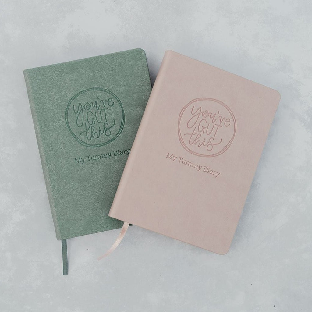 My Tummy Diary gut health journal. Sage and blush gut health IBS diary - food and symptom trackers in sage and blush