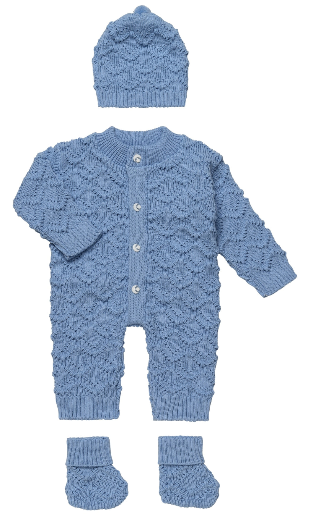 Blue knitted 3 piece set