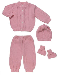 4 Piece Knitted Set - Pink