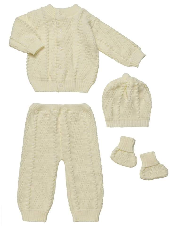 4 Piece Knitted Set - Cream