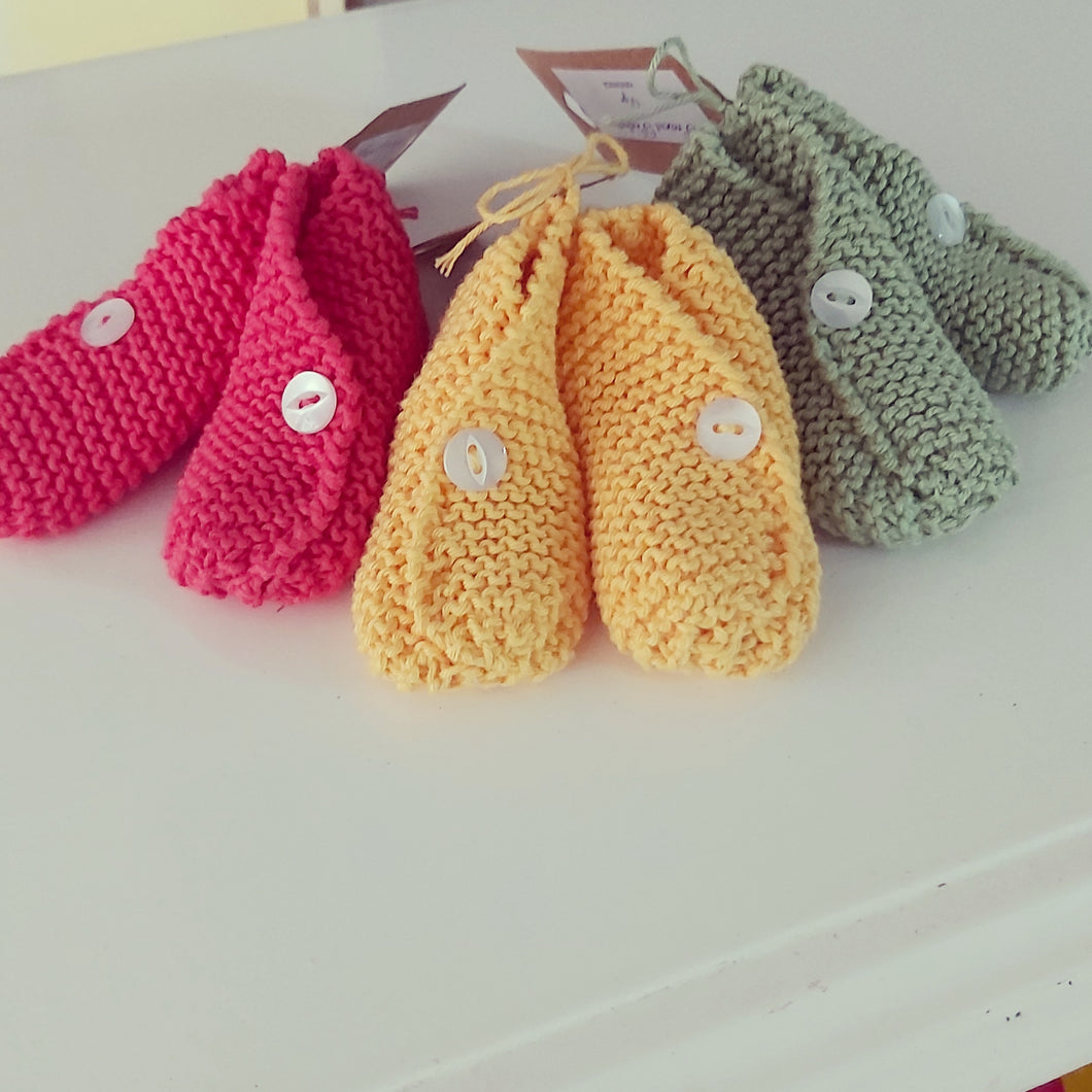 Hand Knitted Booties - 6 Colours