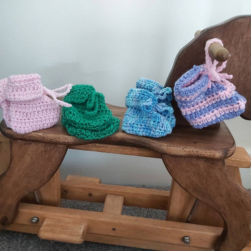 Handmade Tie Booties - Various Colours