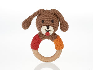 Wooden Puppy Teething Rattle