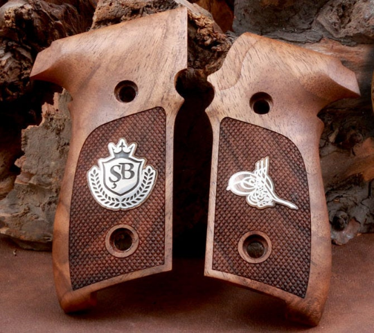 Sig Sauer P228 and P229 grips made from walnut wood with custom logos made of Silver.(make your custom pair of grips). - Bestpistolgrips