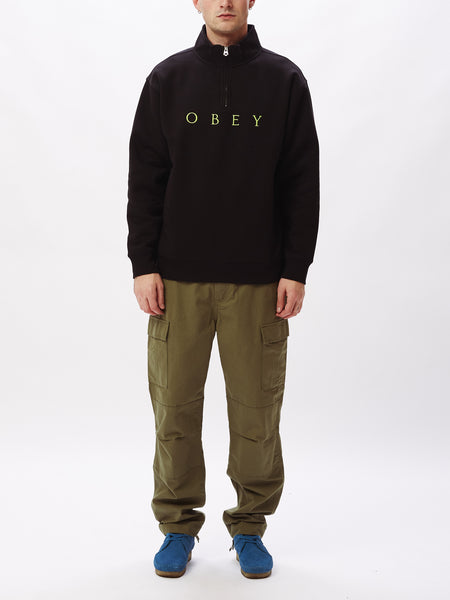 Obey -  Lessen Mock Neck Zip - Black