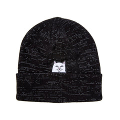 Rip 'n' Dip Lord Nermal Ribbed Beanie (Black Reflective Yarn)