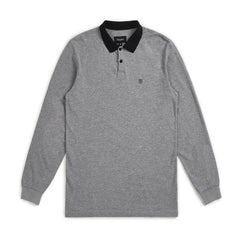 Brixton Wingate L/S Polo - Heather Grey/Black