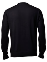 Merinos Wool Crew Neck Sweater - Black