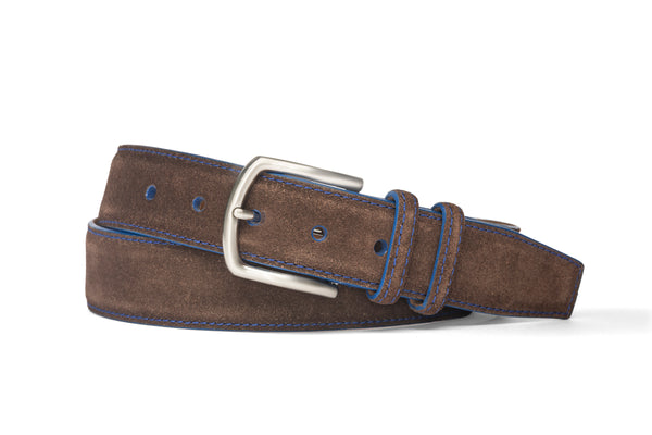 Suede Belt - Chocolate/Royal