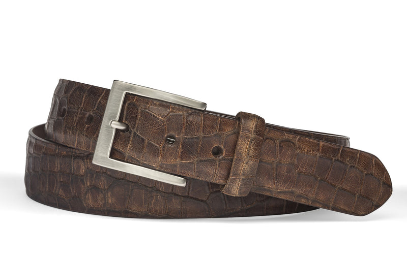 Crocodile Belt - Cognac
