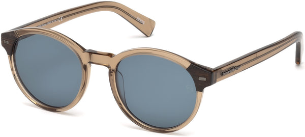 Round Sunglasses with Wood Details