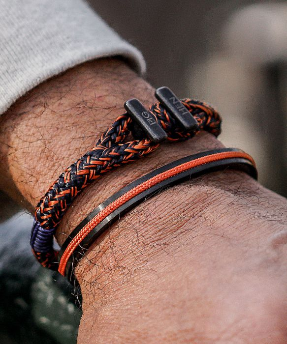 Icy Ike Bracelet - Navy/Maple Orange