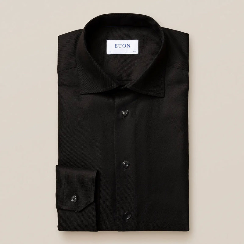 Slim fit black textured twill shirt