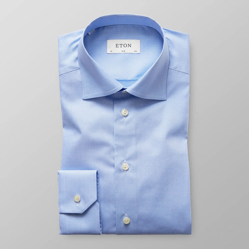 Slim fit light blue hounds tooth shirt