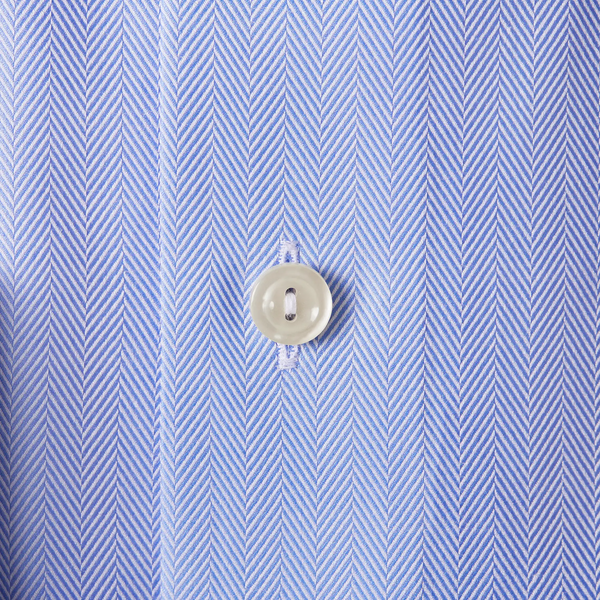 Slim fit sky blue herringbone twill shirt