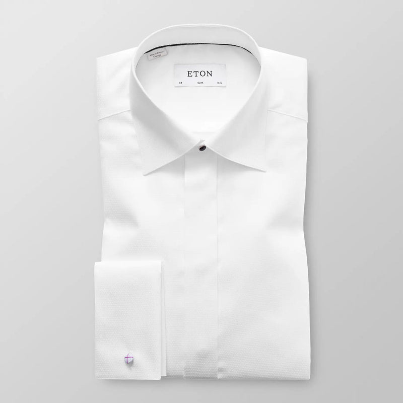 Slim fit white dobby evening shirt