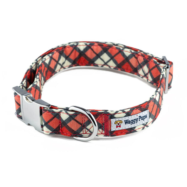 Cranberry Plaid Dog Collar - Waggy Pups
