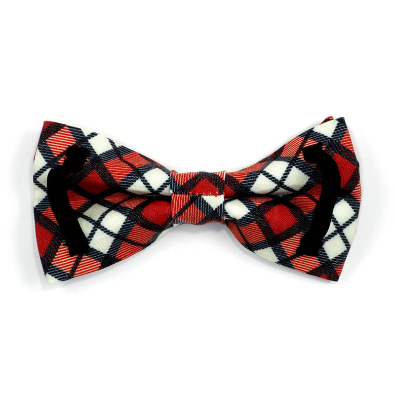 Cranberry Plaid Dog Bow Tie - Waggy Pups