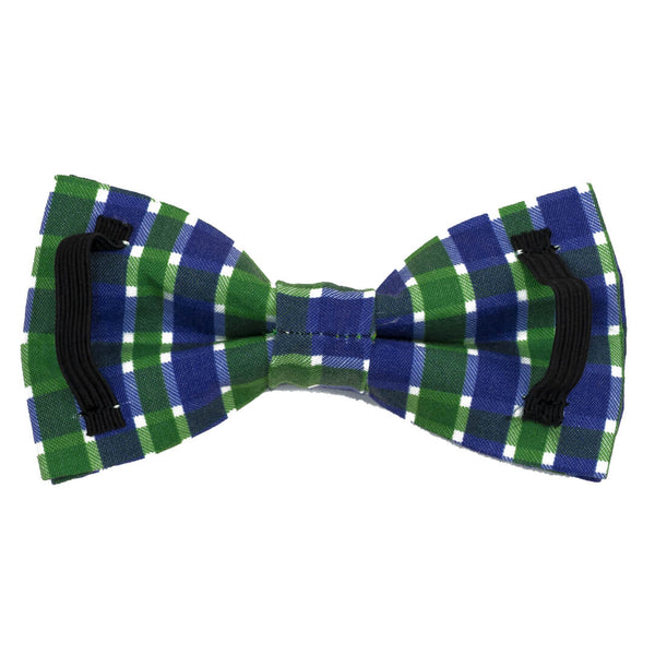Navy Emerald Plaid Dog Bow Tie - Waggy Pups
