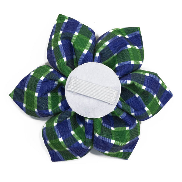 Navy Emerald Plaid Dog Flower - Waggy Pups