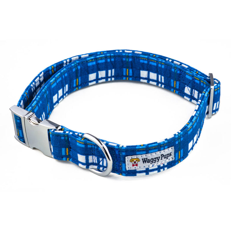 Newport Plaid Dog Collar - Waggy Pups
