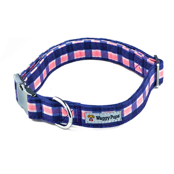 Pink Admiral Plaid Dog Collar - Waggy Pups