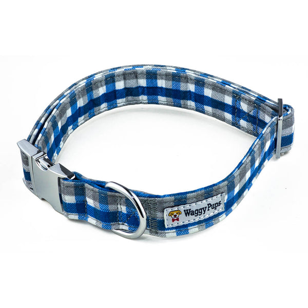Sapphire Stone Plaid Dog Collar - Waggy Pups