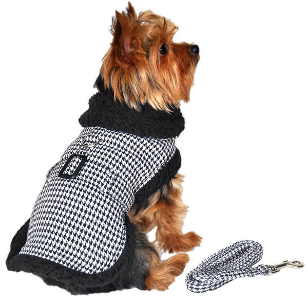 Black and White Houndstooth Harness Coat with Matching Leash - Waggy Pups