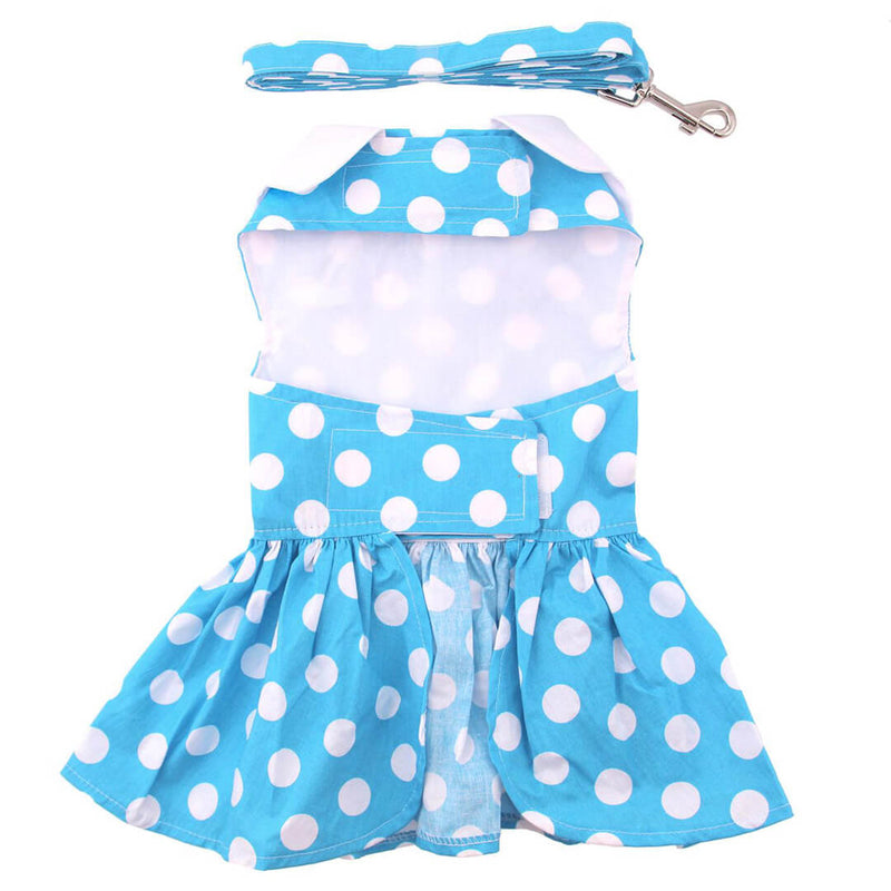 Blue Polka Dot Dog Dress with Matching Leash