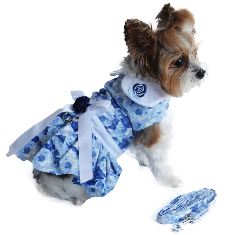 Blue Rose Dog Dress with Matching Leash