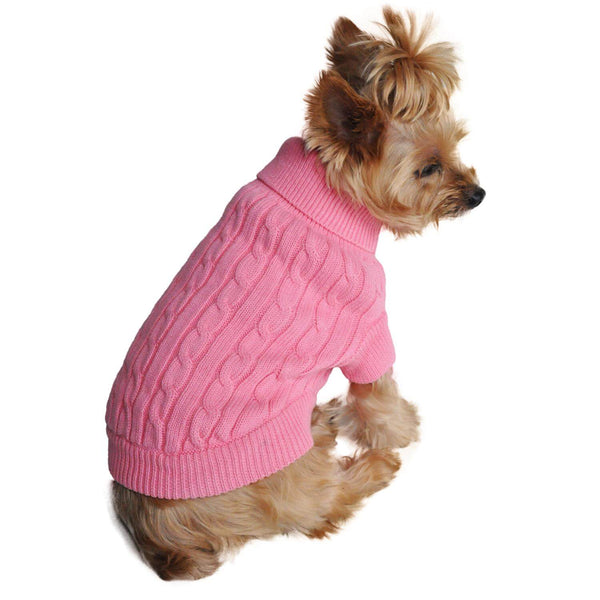Candy Pink Combed Cotton Cable Knit Dog Sweater - Waggy Pups