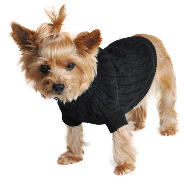 Jet Black Combed Cotton Cable Knit Dog Sweater - Waggy Pups