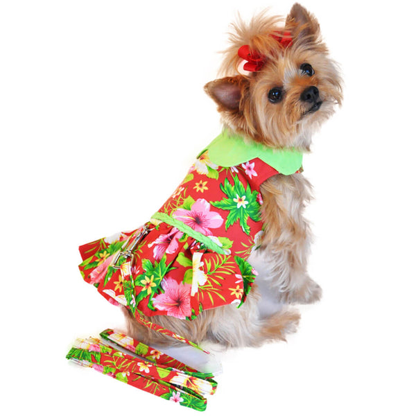 Red Hibiscus Dog Dress with Matching Leash
